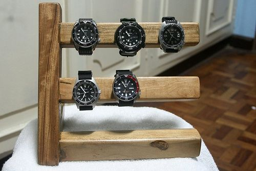 "I just had my watch display stand made... It's made of ""tugas"" it's a family of ironwood here in the Philippines... My new stand with my"