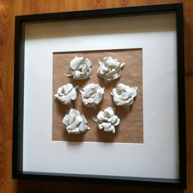 Paper roses made from old book and framed