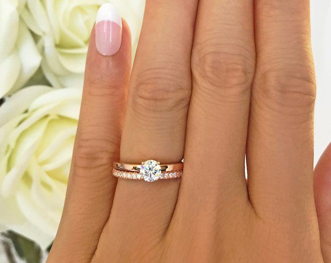 1 Ct Round Bridal Set Solitaire Ring Half Eternity Band Etsy Solitaire Engagement Ring Rose Gold Rose Engagement Ring Engagement Ring White Gold