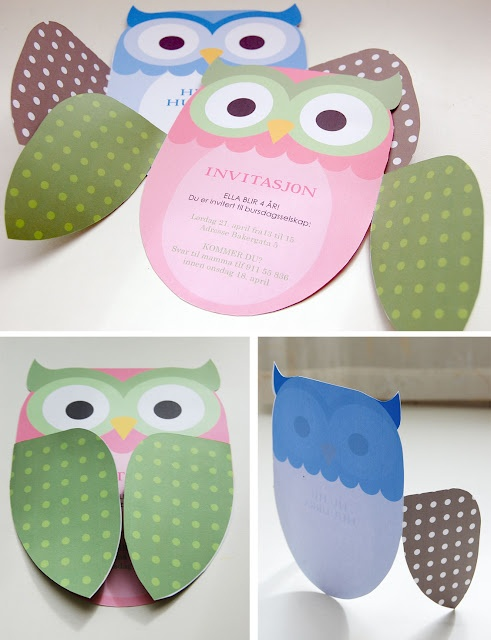 "owl card.  I wrote on the wings outside ""Guess whoooo's having a party?"" and put the party info inside."
