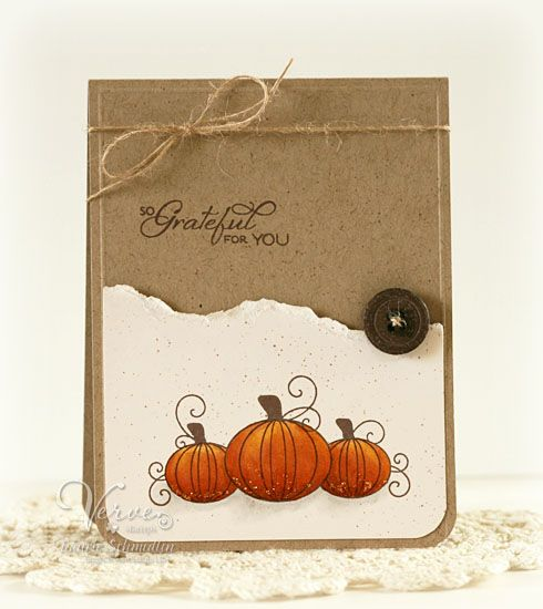 Grateful for you card on kraft with stamped pumpkins