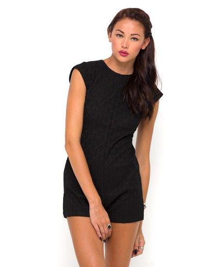 Buy Motel Chickadee Cap Sleeve Playsuit in Black Lace at Motel Rocks