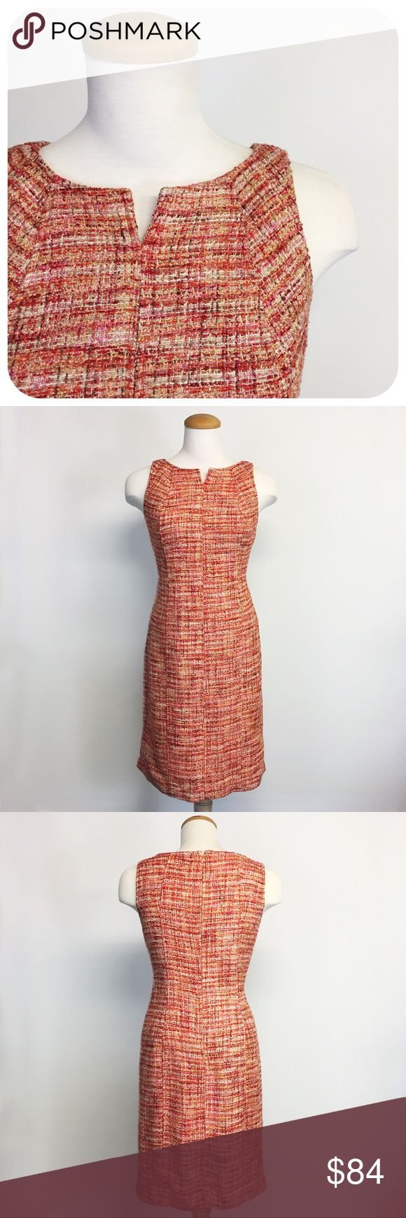 """{{ Talbots }} Pink & Orange Bouclé Tweed Dress Beautiful dress for fall! Orange, red, pink, cream, and yellow threads and yarns woven together in this nubby tweed shift dress by Talbotts. Great texture and color! Sleeveless with a notched v neckline.   Like new.   Measurements: Length - 39"""" Bust - 18.5"""" (measured lying flat) Waist - 17"""" (measured lying flat)  Dress only. Talbots Dresses Midi"""