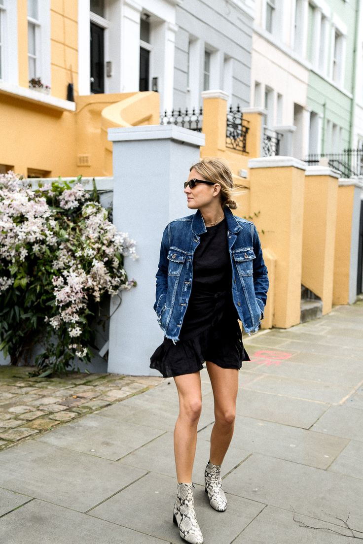 Easy chic / simple dress / denim jacket / chic / fabulous snakeskin boots / ankle
