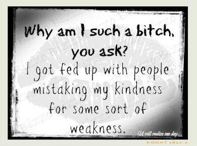 Why am I such a bitch, you ask?  I got fed up with people mistaking my kindness for some sort of weakness.