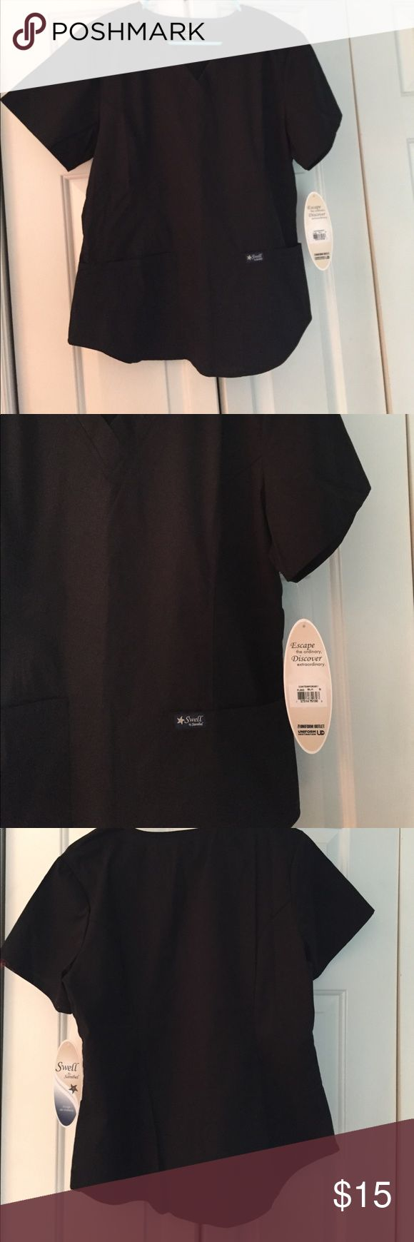 NWT Black Swell by Sanibel Scrub Top New with tags! Beautiful scrub top by Sanibel's new line - Swell. FLATTERING cut!!! Please don't hesitate with any questions and/or offers! Happy Poshing!!! 💝🛍 Sanibel Tops