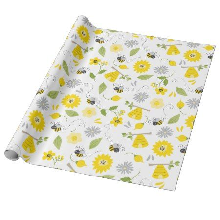 Cute Bees and Beehives Wrapping Paper - click to get yours right now! #pattern #patterns #illustrations #illustration #animal #animals #giftwrap #giftwrapping #kids #children #babyshower
