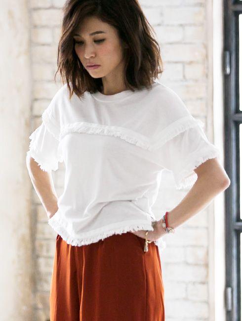 【Fringe design Tshirt】レディース フリンジ Tシャツ