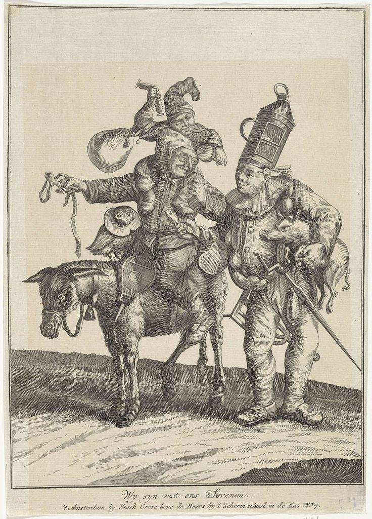 Anonymous | Verklede figuren met verschillende dieren, Anonymous, Cornelis Dusart, Ysack Greve, 1700 - 1749 | Op een ezel zit een man met een blaasbalg. Op zijn schouders een verklede dwerg. Voor hem zit een uil met een kraag. Naast de ezel staat een man met een melkbus(?) op zijn hoofd, worsten om zijn nek en een varken onder zijn arm.
