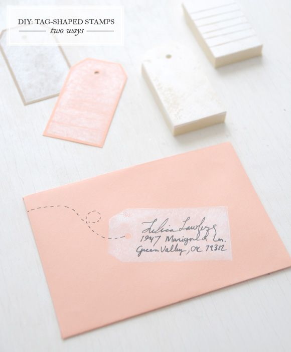 Easy DIY Tag-shaped Stamps up on Creature Comforts blog today.: Cute Ideas, Diy Gifts, Cute Envelopes, Address Envelopes, Tags Stamps, Address Labels, Gifts Tags, Diy Projects, Address Stamps