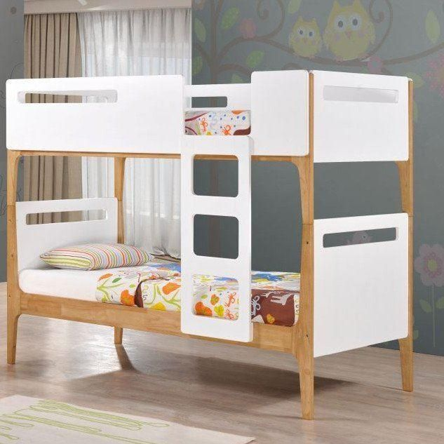 Mason White And Oak Wooden Bunk Bed Frame Only 3ft Single In