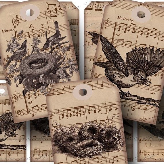Aged Song Birds 1 Hang Tags Digital by CharmedMemoryCollage, $3.50