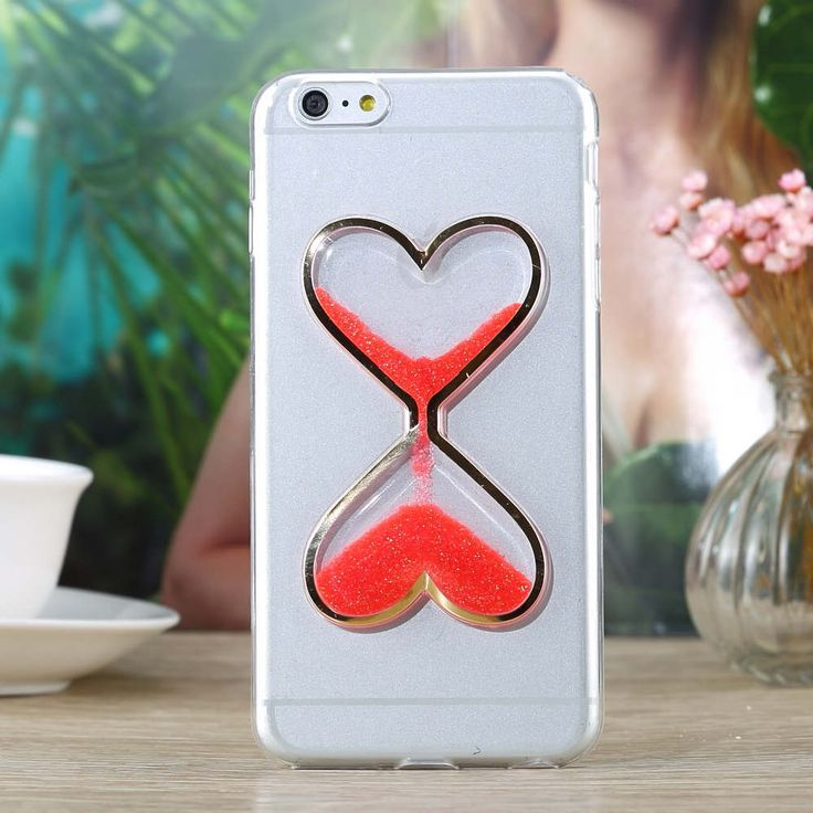 New Dynamic Quicksand Glitter Liquid heart Phone Case Cover For iPhone 6 6S Plus