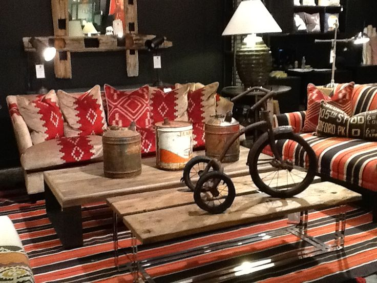Bowie Coffee Table - Ava Sofa in Mohave-Red - Antique Tricycle
