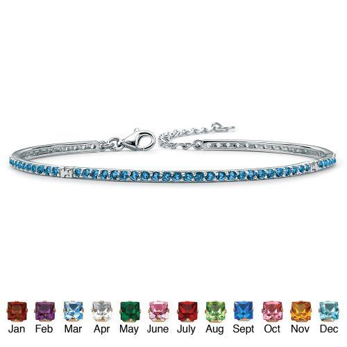 """Round Simulated Birthstone Silvertone Metal Stackable Tennis Bracelet 7 1/2""""- September- Simulated Sapphire Palm Beach Jewelry. $62.99"""