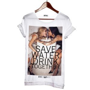 Save Water Tee Round Neck White, 35€, now featured on Fab.