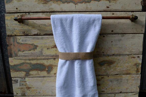 Towel rail / rack made from beautiful copper and brass, Industrial towel rack, Steampunk towel rail. Bathroom