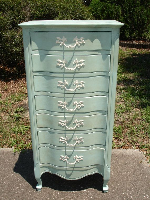 French Provincial Lingerie Chest / Dresser in Pale Blue Shabby Chic Cottage Finish