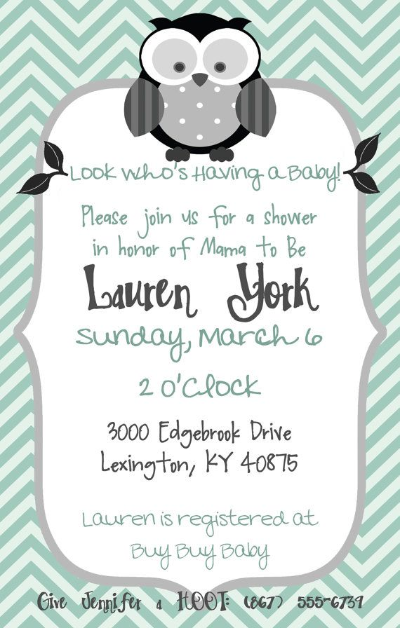 Owl Baby Shower Invitation for Boy or Girl by PumpkinSeedPaperie, $12.00