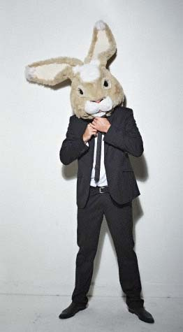 Man wearing rabbit head; A perfect look for your Grown Up Easter Party. See more ideas at sparklerparties.com