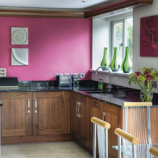 32 Painted Kitchen Wall Designs: Love The Colours In This Kitchen...raspberry Paint, Walnut