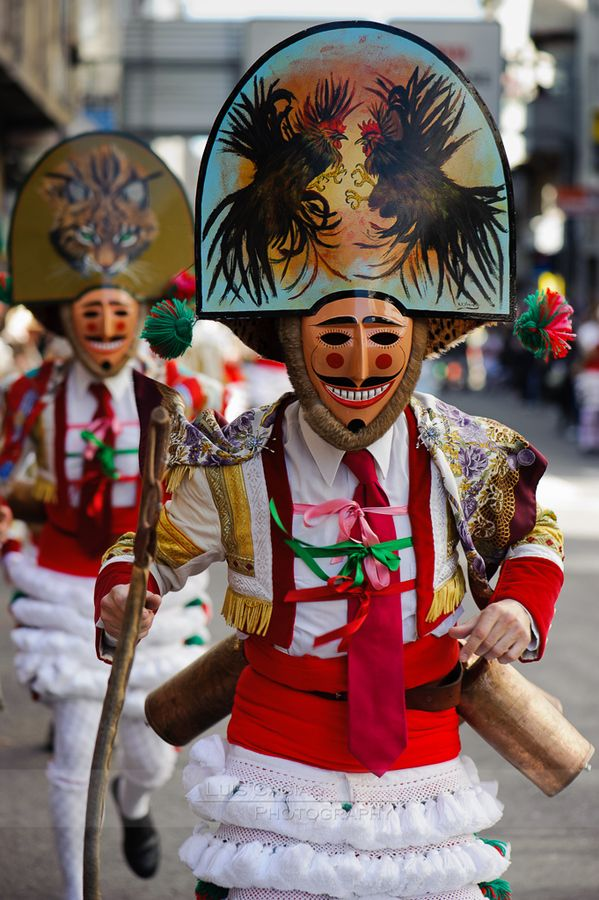 This is a picture of a popular event many people go to. It is called Carnival, Orense, located in Galicia, Spain.