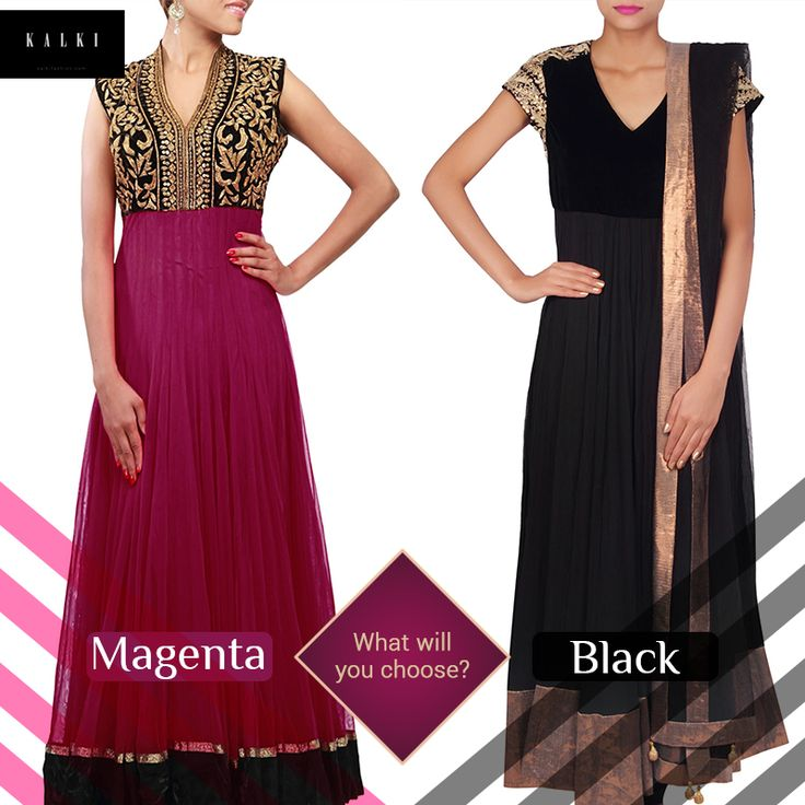 Dazzle in these shimmering suits, one colour at a time. Pick up your favorite here: http://bit.ly/KalkiMagentaSuit