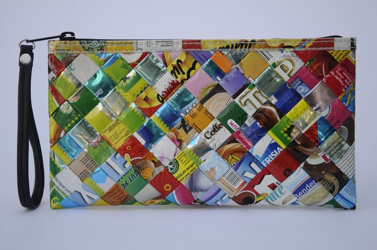 Zip clutch using candy wrappers