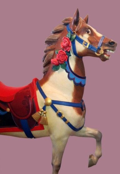 Circa 1910 Muller Rose Pony – Outside Row Stander - Rare figure from the late Marianne Stevens Wooden Horse Collection. Featured in her world-famous book on carousel art, Painted Ponies. Financing available. Certificate of Authenticity - Last operated in Hanover, PA.