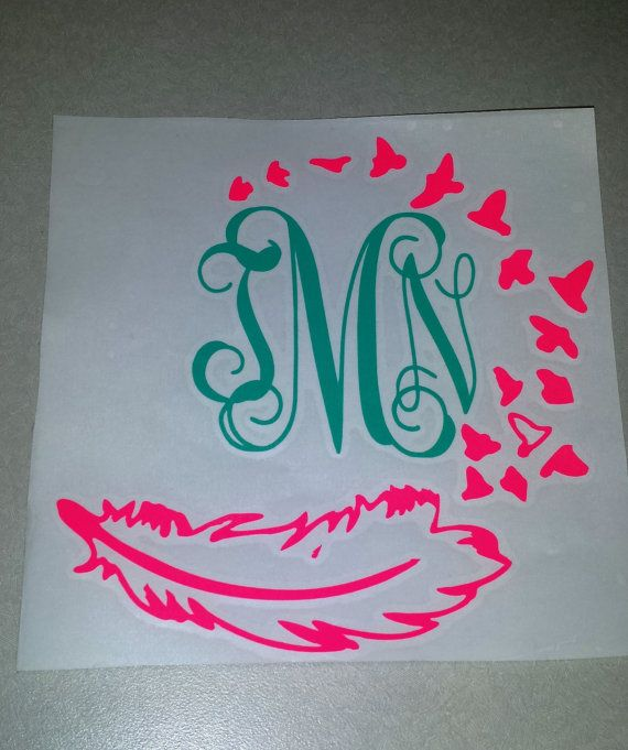 Monogram feather decal by on etsy
