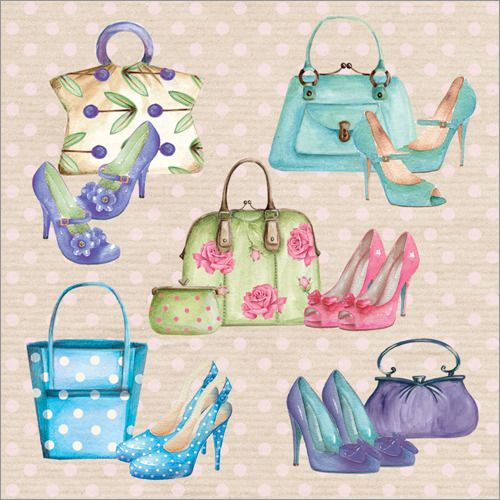 Handbags and shoes (WS295). Matt Textured and flittered, with a white 100 gsm envelope. Blank for your own message.