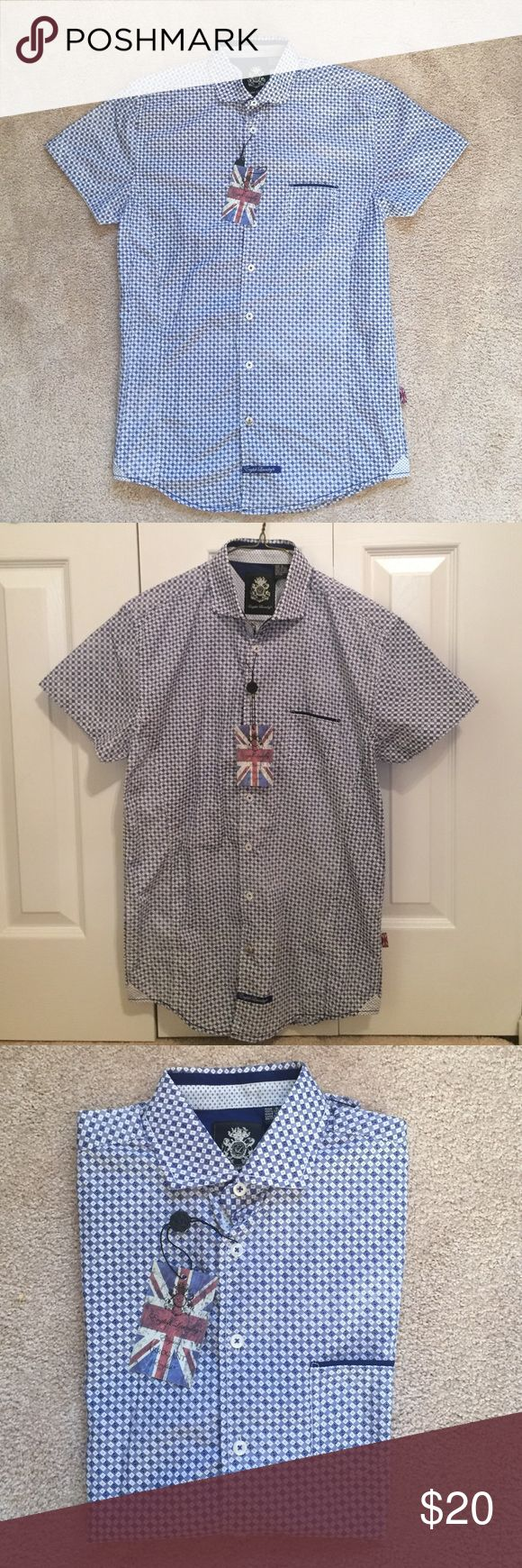 Men's Short Sleeve Dress Shirt This designer Dress Shirt is short sleeve and features a stunning pattern. Never been worn and NWT! Perfect for formal or casual occasions! English Laundry Shirts Casual Button Down Shirts