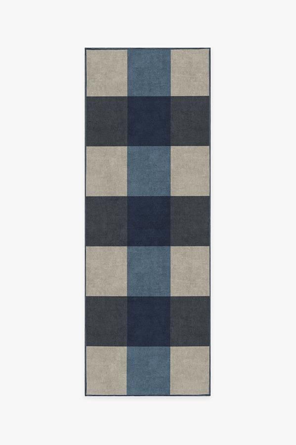 Washable Rug Cover Pad Buffalo Plaid Blue Ivory Rug Stain Resistant Ruggable 2 5 X7 With Images Ivory Rug Rug Stain Taupe Rug