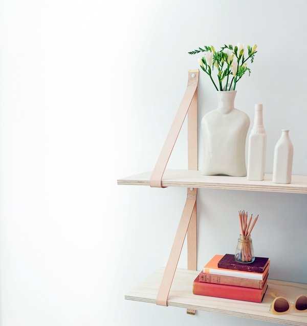 Via Apartment 34 | White and Wood | DIY Leather Strap Shelves