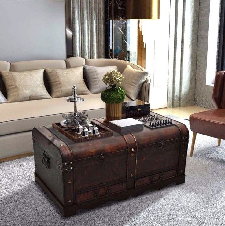 Chest coffee Table Side Storage Wooden Large Brown Vintage Antique Furniture Uk