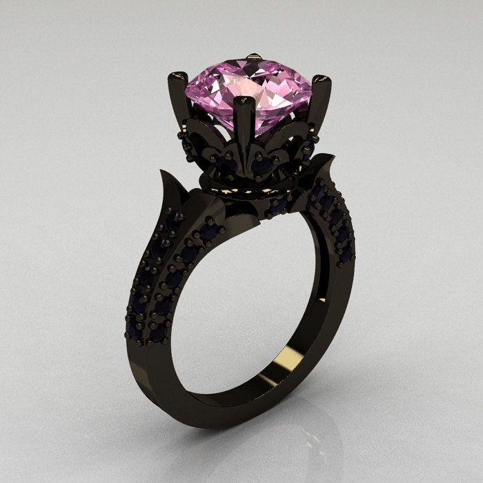 Classic French 14K Black Gold 3.0 Carat Light Pink Sapphire Black Diamond Solitaire Wedding Ring  $2,149.00