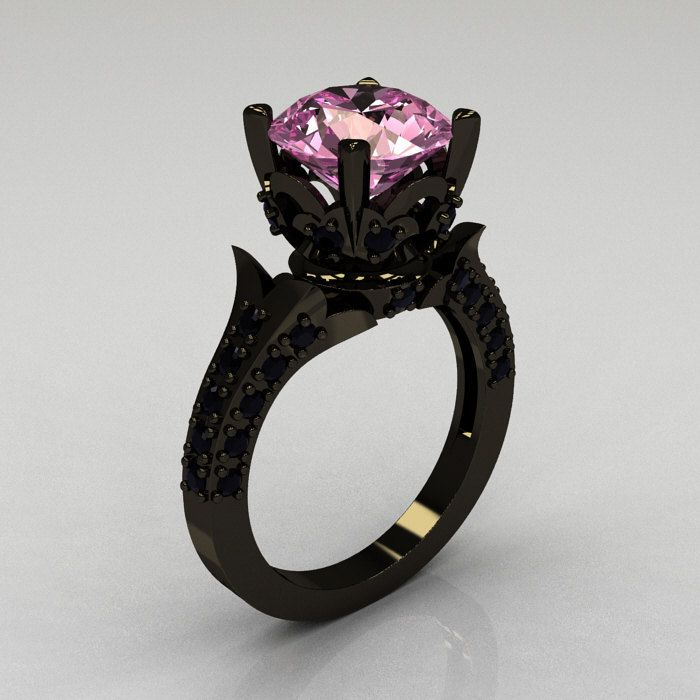 Classic French 14K Black Gold 3.0 Carat Light Pink Sapphire Black Diamond Solitaire Wedding Ring  $2,149.00