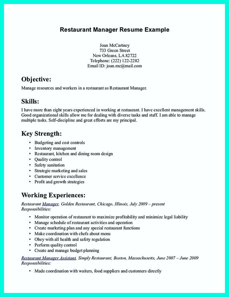 34 best RESUME images on Pinterest Career, Culinary arts and - resume examples for servers