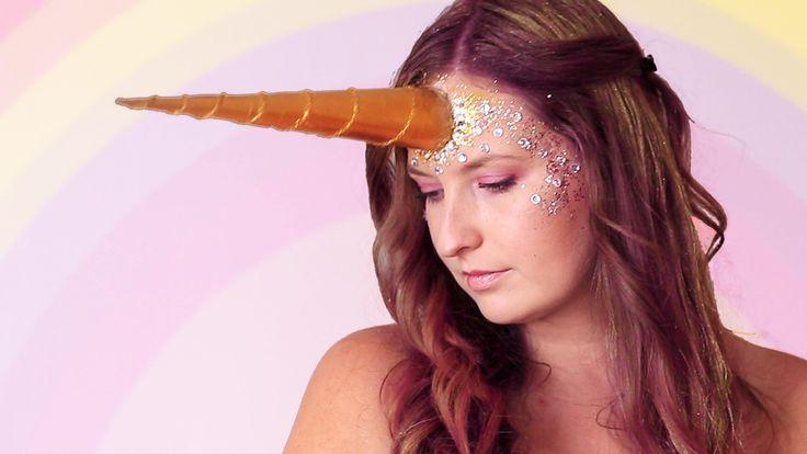 Halloween makep tutorial unicorn, corner, unicorn look, halloween costume, diy easy, idea