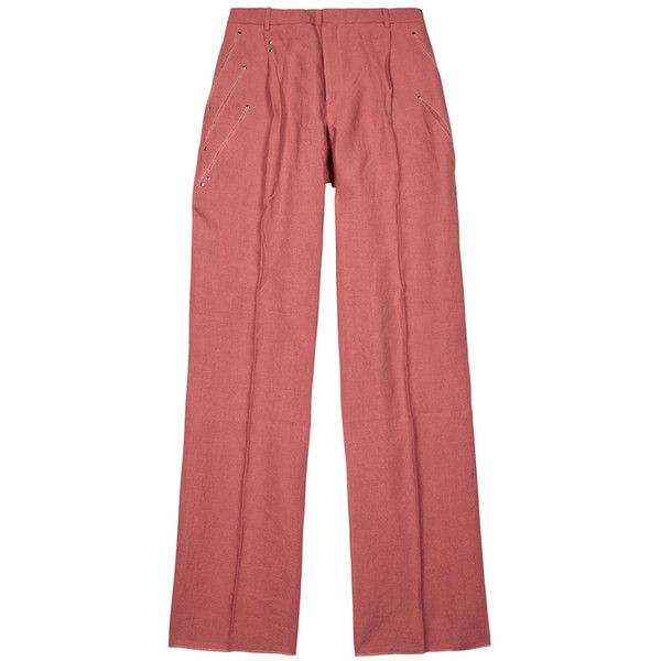Y/Project Pink Relaxed Linen Trousers ($820) ❤ liked on Polyvore featuring men's fashion, men's clothing, men's pants, men's casual pants, men's relaxed fit pants, mens linen pants, mens pink linen pants, mens casual linen pants and mens pink pants