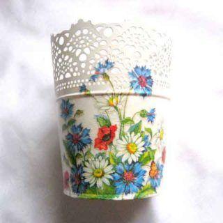 Ghiveci flori decorat cu model de flori campenesti, ghiveci metal