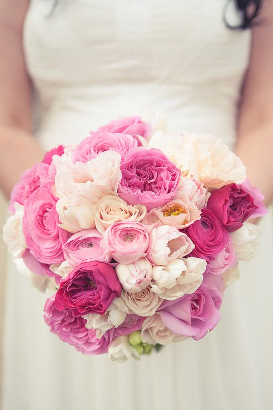 """A little more """"romantic"""" of a bouquet...this style is very fitting for The Arbors...Ombre fuchsia bouquet by Hello Blossoms"""
