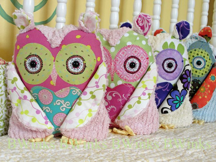 Plush Owl Pillow   Stuffed Owl  Pretty Pink Blues and by BWinks! Too cute.