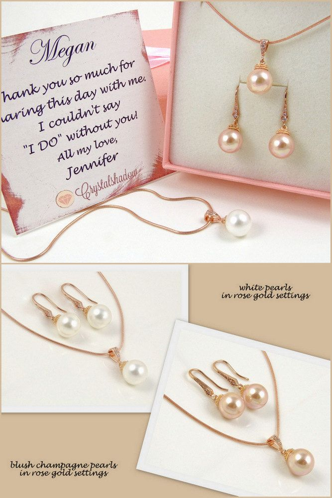 pearl necklace and earrings set bridal jewelry rose gold necklace set jewelry for bridesmaids gift ideas