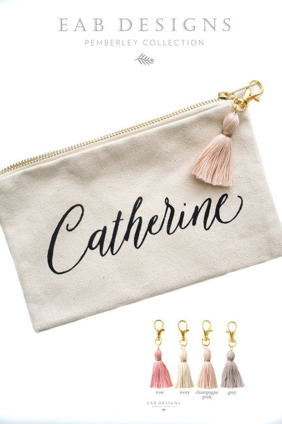 Personalized Makeup Bag Personalized Cosmetic Bag Canvas Pouch