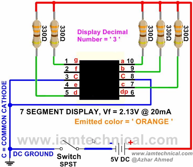 7 Segment Orange Color LED Display Emitting Decimal Digit ' 3 ' | IamTechnical.com