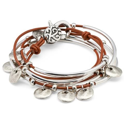 Journey leather wrap bracelet in gloss burnt orange leather, comes as shown