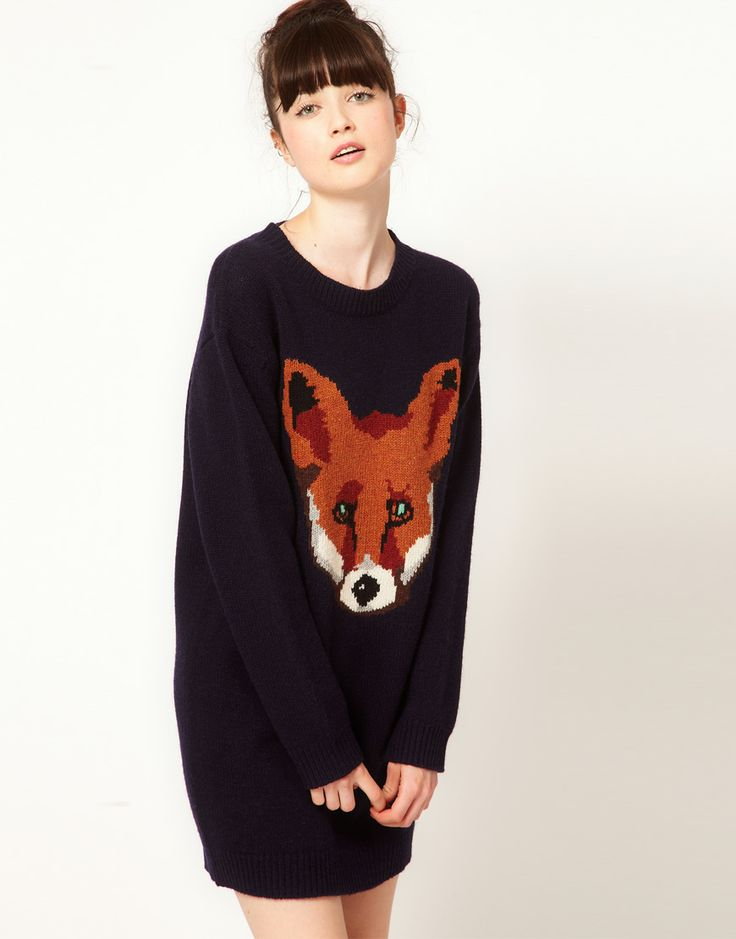 For Sara. Oversized fox sweater dress, this would look AWESOME on YOU! I went to the website and it's sold out... of course. :(