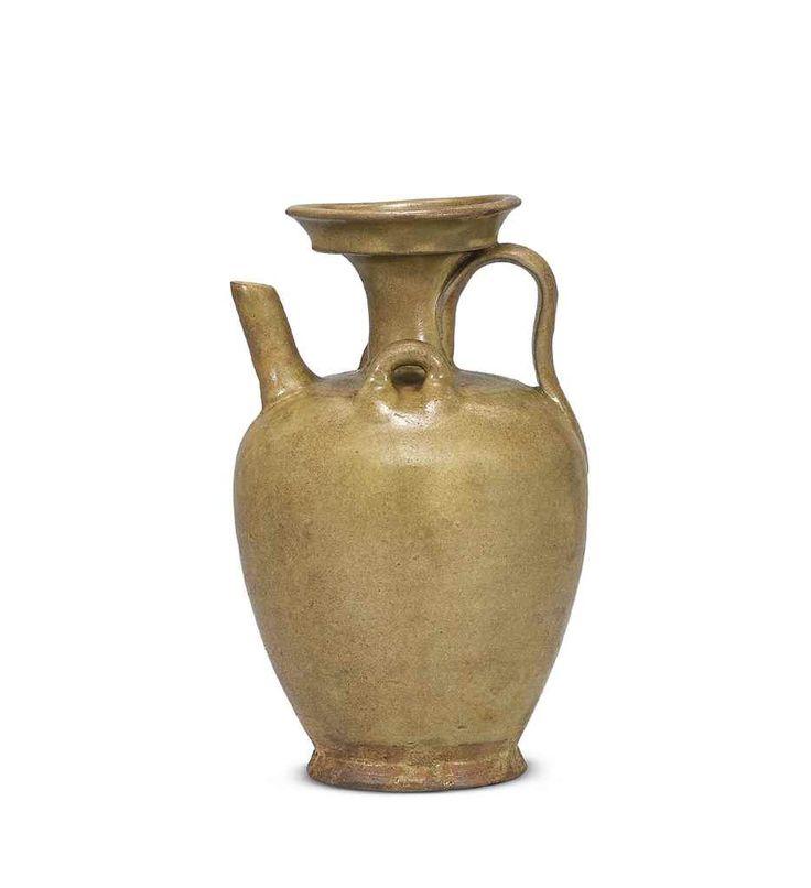 A celadon-glazed ewer, Tang Dynasty (618-907)