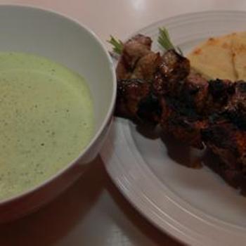 Greek Lamb Kabobs with Yogurt-Mint Salsa Verde